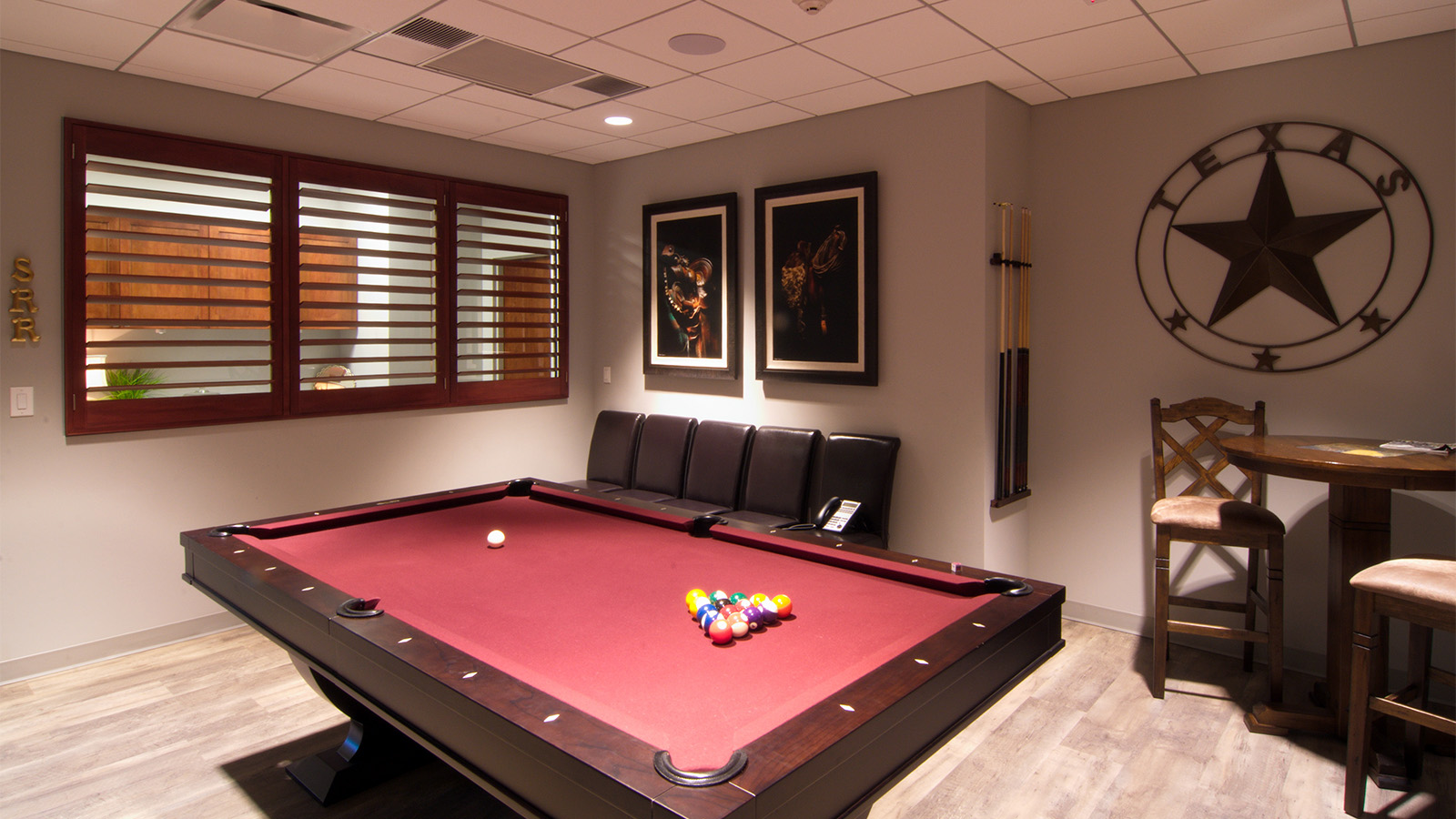 Pool table and conference room
